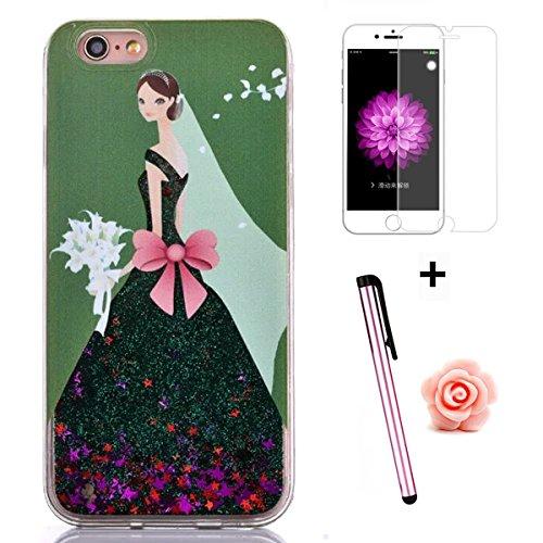 Tebeyy Cover per iPhone 6/6S, femminile con glitter liquido,   elegante, creativa, rigida, protettiva con stelline scinitllanti + pellicola proteggi schermo + tappo antipolvere a fiorellino  della pol verde