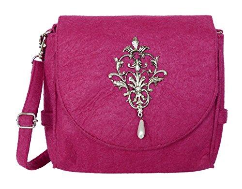 Trachtentasche aus Filz - Dirndltasche mit Antikstil Applikation - Umhängetasche fürs Dirndl Pink