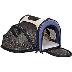 Petsfit Cage de Transport Extensible et Pliable pour Chiens et Chats, Bleu (Petit : 41cm x 24cm x 28cm)