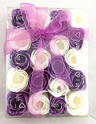 Baderosen in Geschenkverpackung 20 Stück Rosen Lila/Weiß 2-Farbig Seifen Box-Set Deko Gästeseife