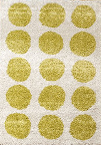 Aspect Relación de 120 x 170 cm Beige de Color Verde diseño de Lunares Polipropileno ábaco diseño de con Texto en inglés Alfombra con diseño de Lunares