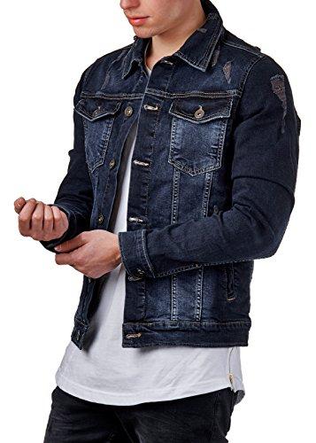 EightyFive Herren Denim Jeans-Jacke Basic Destroyed Zerrissen Slim Fit Blau EF3540, Größe:M, Farbe:Blau