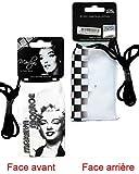 Schutzhülle Handy Marilyn Monroe mit Kordel schwarz und weiß 11cmx6,5cm