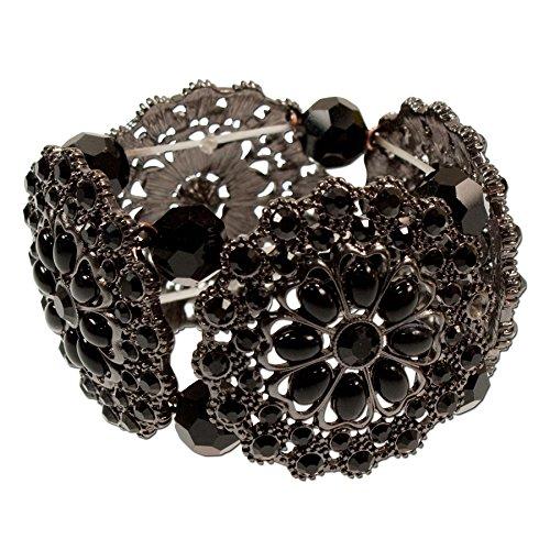 Alpenflüstern Trachten-Armband Perlenblüte - Damen-Trachtenschmuck, elastische Trachten-Armkette, Perlenarmband schwarz ()