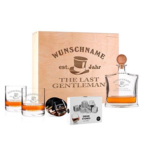 Privatglas Whisky Geschenkset mit gravierten Gläsern, Untersetzer, Karaffe und Whiskysteinen in einzigartiger Geschenkverpackung