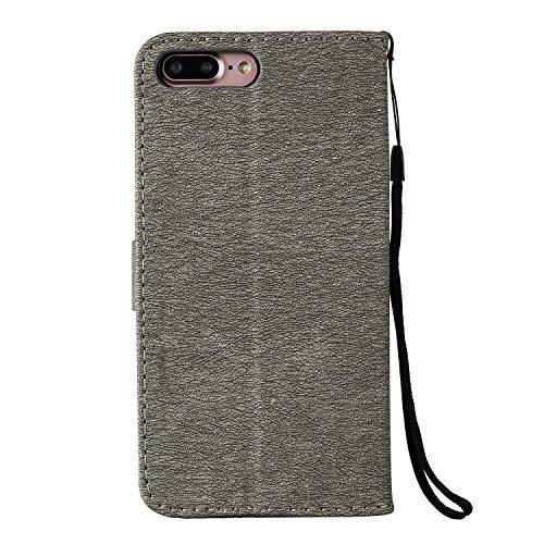 GR Case Cover TPU + PU per Apple IPhone 7 Plus, disegno in rilievo Ragazze strass premio TPU / PU Portafoglio in pelle caso del basamento di vibrazione con Holder & cordicella e slot per schede ( Colo Gray