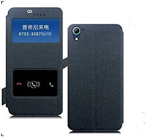 Original Pudini® Goldsand Series double window Flip Case For HTC Desire 626G Plus 626 626G+ - Grayish Black - Free Screen Guard