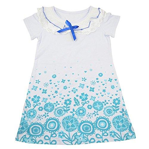 abito a manica corta ragazze di stampa Guancheng fiori nastro di Sundress bambini Abbigliamento per (Petite Denim A-gonna)