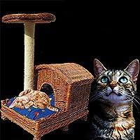MUJING Árbol de Gato de Mimbre Puro Tejido a Mano
