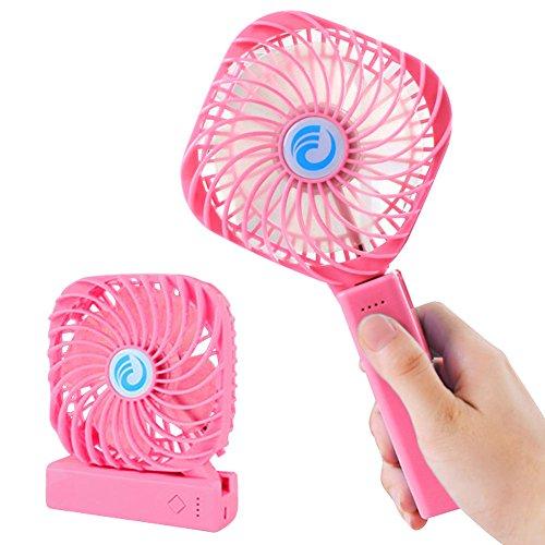 FaithYoo Handheld Tragbar Faltbar Desktop Fan mit batteriebetrieben Wiederaufladbar USB-Ventilator für Zuhause und unterwegs, Camping und Outdoor Aktivitäten 3Datei Speed Best Geschenk Rose (2 Geschwindigkeiten Abnehmbarer Klinge)