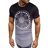 VEMOW Sommer Cool Männer Slim Fit O-Ausschnitt Kurzarm Muscle T-Shirts Casual Täglichen Business Workout Lose T-Shirt Tops Bluse Pulli(Schwarz, EU-56/CN-3XL)
