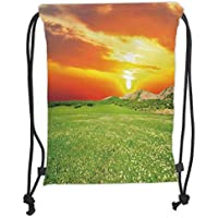 ZKHTO Drawstring Sack Backpacks Bags,Nature,Daisy Flower Meadow Rural with Dramatic Horizon Sky
