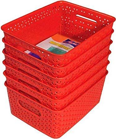 Xllent® Multipurpose Royal Storage Basket for Organiser/Container Box/Fruit Basket/Vegetable Basket/Storage Basket/Makeup Organiser/Office Stationary Storage/Bins- RED Set of 6.