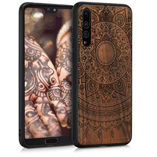 kwmobile Holz Schutzhülle für Huawei P20 Pro - Hardcase Hülle mit TPU Bumper Walnussholz in Indische Sonne Design Dunkelbraun - Handy Case Cover