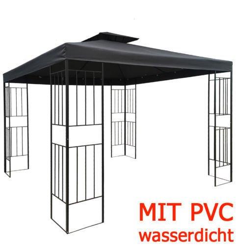 WASSERDICHTER Pavillon Borneo 3x3m Metall inkl. Dach Festzelt wasserfest Partyzelt (Anthrazit)