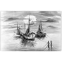 Startonight Cuadro sobre Lienzo en Blanco y Negro Barcos, Impresion en Calidad Fotografica Enmarcado y Listo Para Colgar Diseño Moderno Decoración Formato Grande 60 x 90 CM