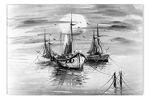 Startonight Leinwand Wand Kunst Schwarz und Weiß Boote, Doppelansicht Überraschung Modernes Dekor Kunstwerk Gerahmte Wand Kunst 100% Ursprüngliche Fertig zum Aufhängen 60 x 90 CM