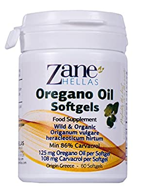Zane Hellas Oregano Oil Softgels. Concentrate 4:1 Provides 108 mg Carvacrol per Serving. Pack of 60 Softgels- Capsules Oil of Oregano. by Zane Hellas