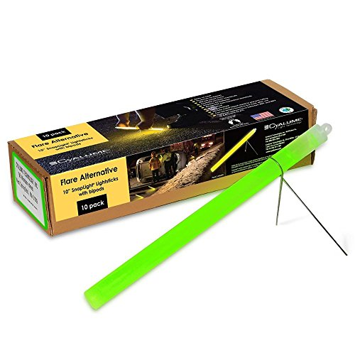 CYALUME - CAJA DE 10 TUBOS LUMINOSOS SNAPLIGHT FLARE ALTERNATIVE 25CM  10 PULGADAS  2 HORAS  COLOR VERDE