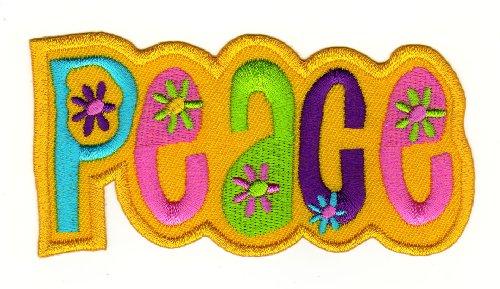 Parche plancha de planchar Iron on patches applikation Love Amor Peace hippie amarillo