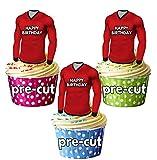 AK Giftshop Vorgeschnittene Cupcake-Dekorationen Happy Birthday Fußballshirts, essbar, Brechin City Farben, 12 Stück