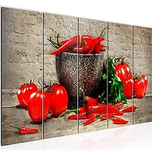 Bilder Küche – Gemüse Wandbild Vlies – Leinwand Bild XXL Format Wandbilder Wohnzimmer Wohnung Deko Kunstdrucke Braun 1…