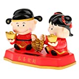 Generic Cute Solar Powered Bobble Head Wealth Blessing Golden Boy & Girl Dolls Home Car Ornament