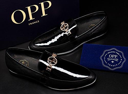 OPP, mocassino uomo, pelle liscia, scarpe eleganti, basse, dettaglio: parti in metallo Nero