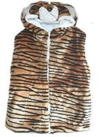 Boys Girls Soft Furry Animal Hooded Gilet Body Warmer Kids Novelty Bodywarmer (Medium, Tiger)