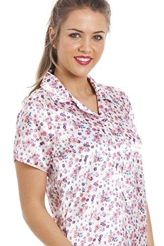 Nachthemd aus Satin - Knielang mit Blumenmuster Pink