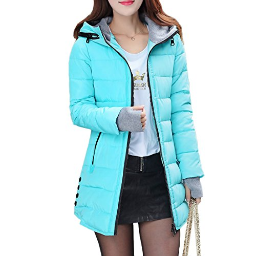 Mid-länge-wintermantel Womens (Damen Kapuzenjacke Mid-Long Style Schlank Wintermantel Steppmantel Winterjacke (Bright blue,Xxxl))