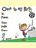 Rachel Ellen - Biglietti di invito per compleanno, con buste, con scritta in inglese: Come To My Party, tema: calcio