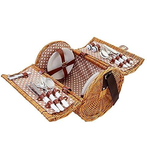 Panier de pique-nique, set pour 4 personnes, sac, porcelaine, acier affiné, beige / blanc
