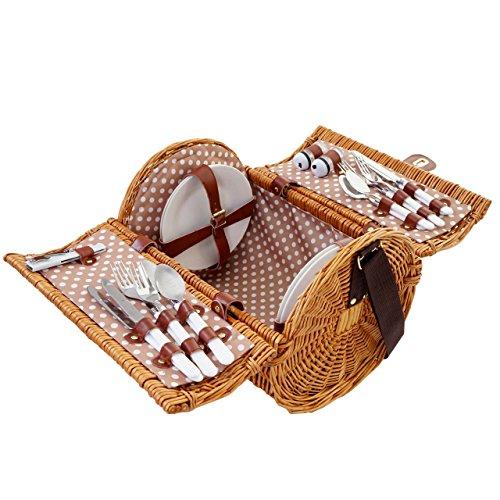Mendler Picknickkorb-Set für 4 Personen, Picknicktasche Weiden-Korb, Porzellan Edelstahl, beige-weiß -