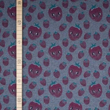 eeren - Blau Melange - French Terry (Erdbeere Kostüm Diy)