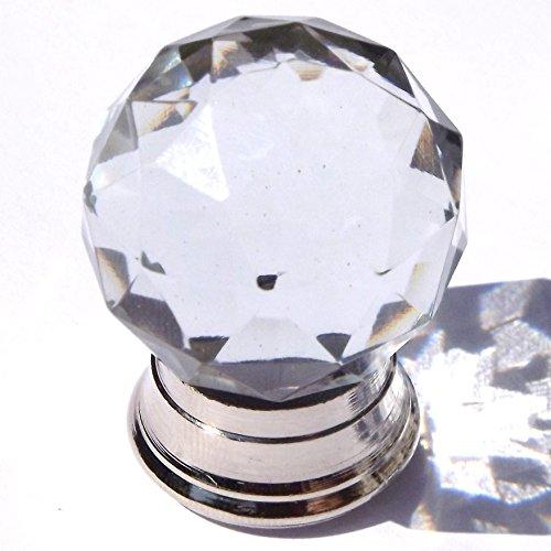Kleine runde Cut Glas Kleiderschrank & Schrank zieht (Knöpfe) chrom Base Sharpe Base