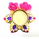 Swaneer Royal Golden With Rose Flower Acrylic Designer Diya For Diwali Home Decor Gift Collection