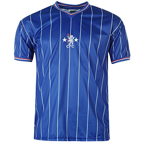 Score Draw Herren Chelsea FC 82 Retro Fussball Trikot Kurzarm V Ausschnitt Shirt Royal UK Medium (Trikot Chelsea Training)