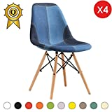 Promo 4 x Chaise Design Inspiration Eiffel Pieds Bois Clair Assise Patchwork Jeans Mobistyl® DSWL-PJ-4