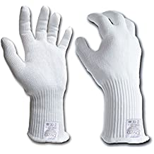 DYZD Professional Cut Resistant Gloves, Safety Work Gloves, Extra Long Wrist, Food Grade Materia, Food Cutting Gloves, Kitchen Cooking Gloves (Large, White)