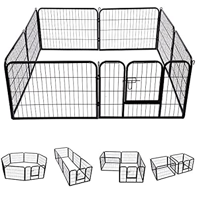 Pawhut Heavy Duty Dog Pet Puppy Metal Play Pen Rabbit Pig Hutch Run Enclosure Foldable Black