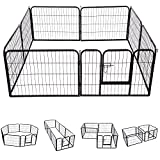 Pawhut Heavy Duty Dog Pet Puppy Metal Playpen Play Pen Rabbit Pig Hutch Run Enclosure Foldable Black 80 x 80 cm (Medium)