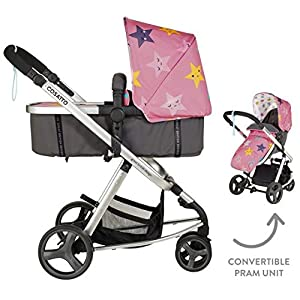 Cosatto Giggle Mix Pram & Pushchair Happy Stars Cosatto Includes - Pram & Pushchair, Hold Car seat, Adaptors, Apron and Raincover Suitable from birth up to 15kg, One unit transforms from newborn pram mode into pushchair mode. Space saving. No need to buy separates. 'In or out' facing pushchair seat lets them bond with you or enjoy the view. 9