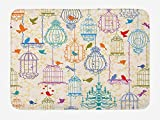 LULABE Vintage Bath Mat, Bird and Birdcases Collection Floral Love and Freedom Theme Illustration, Plush Bathroom Decor Mat with Non Slip Backing, 23.6 W X 15.7 W Inches, Purple Green Blue