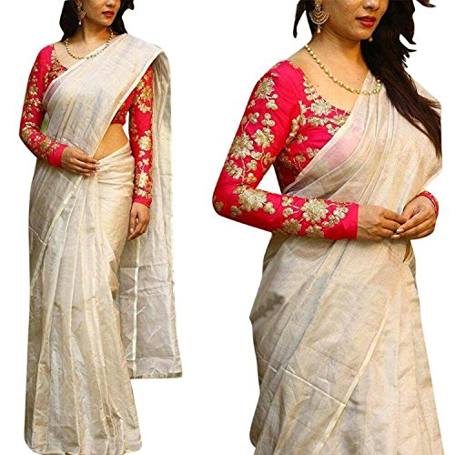 Indian Beauty Women's Cotton Saree(Off-White ,Free Size)