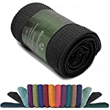 Rutschfestes Yogahandtuch mit Silikon-Dots (Noppen) »Chandra« Anti-Slip Oberfläche daher ein echtes Premium Yoga Towel bzw. Sporthandtuch. Ideal für Hot Yoga und Ahstanga rutschfest, hautfreundlich, hohe Feuchtigkeitsaufnahme (d.h. sehr saugfähig) & hohe Bodenhaftung (Silikon-Beschichtung) - Größe ca. 183 x 62 cm / erhältlich in den Trendfarben: schwarz