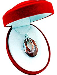 * Top * * * Helios * * 30mm * Red Magma * con cadena de plata de plata de ley 925con Swarovski® Elements Original Colgante, collar con joyas funda, ideal como regalo para mujer o Freundin