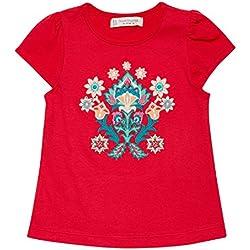 Sense Organics Gada T-Shirt Flowers, Camiseta para Bebés, Mehrfarbig (Rose Red+Desert Flower Applic 302002), 74 cm