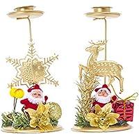 BESTOYARD 2 UNIDS Navidad Adorno de Candelabro Decoraciones de la Mesa de Navidad Copo de Nieve Candelabro Partido Ornates