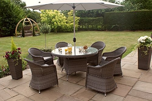 Maze Rattan Victoria 6 Seat Round Rattan Dining Set Grey Weave Garden R